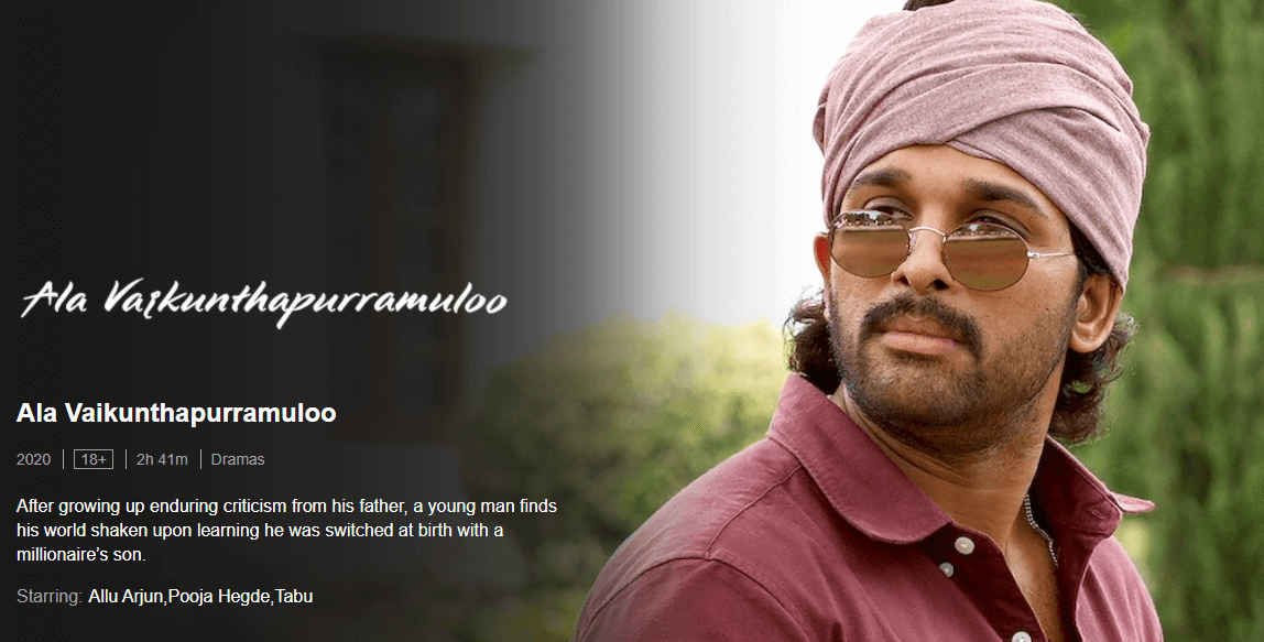 Watch Ala vaikunthapurramuloo full movie telugu on netflix