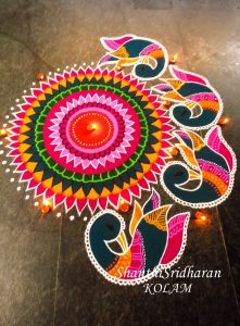 Sankranthi Peacock rangoli designs 2021